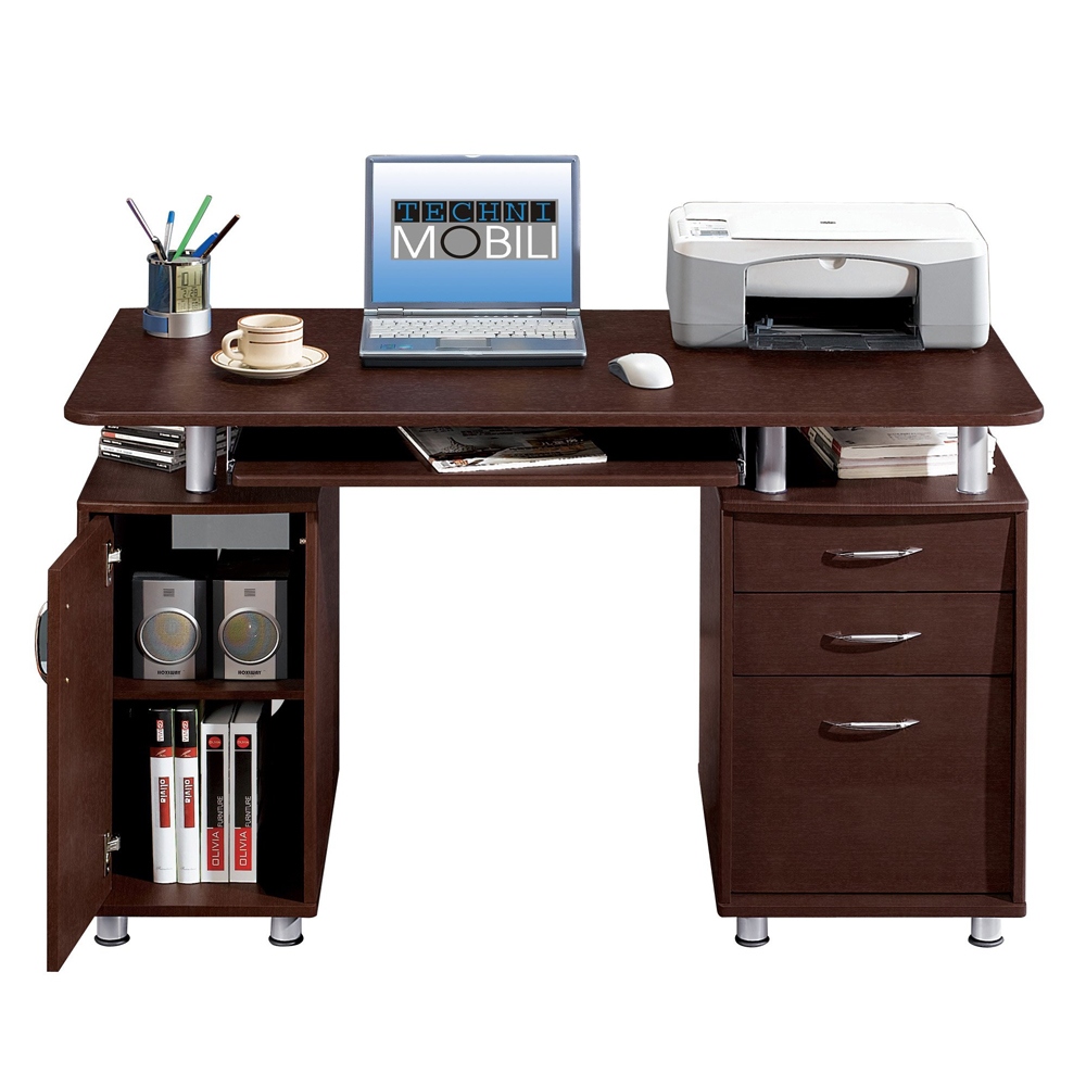 Home Office Computer Desk Laptop PC Study Table with 3 Storage ...