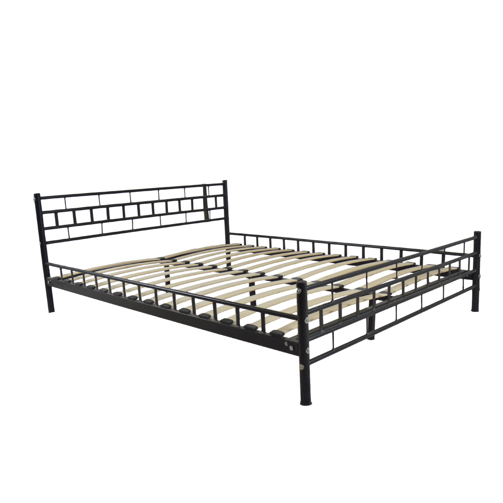 New Black Queen Wood Slats Bed Frame Platform Headboard Footboard ...
