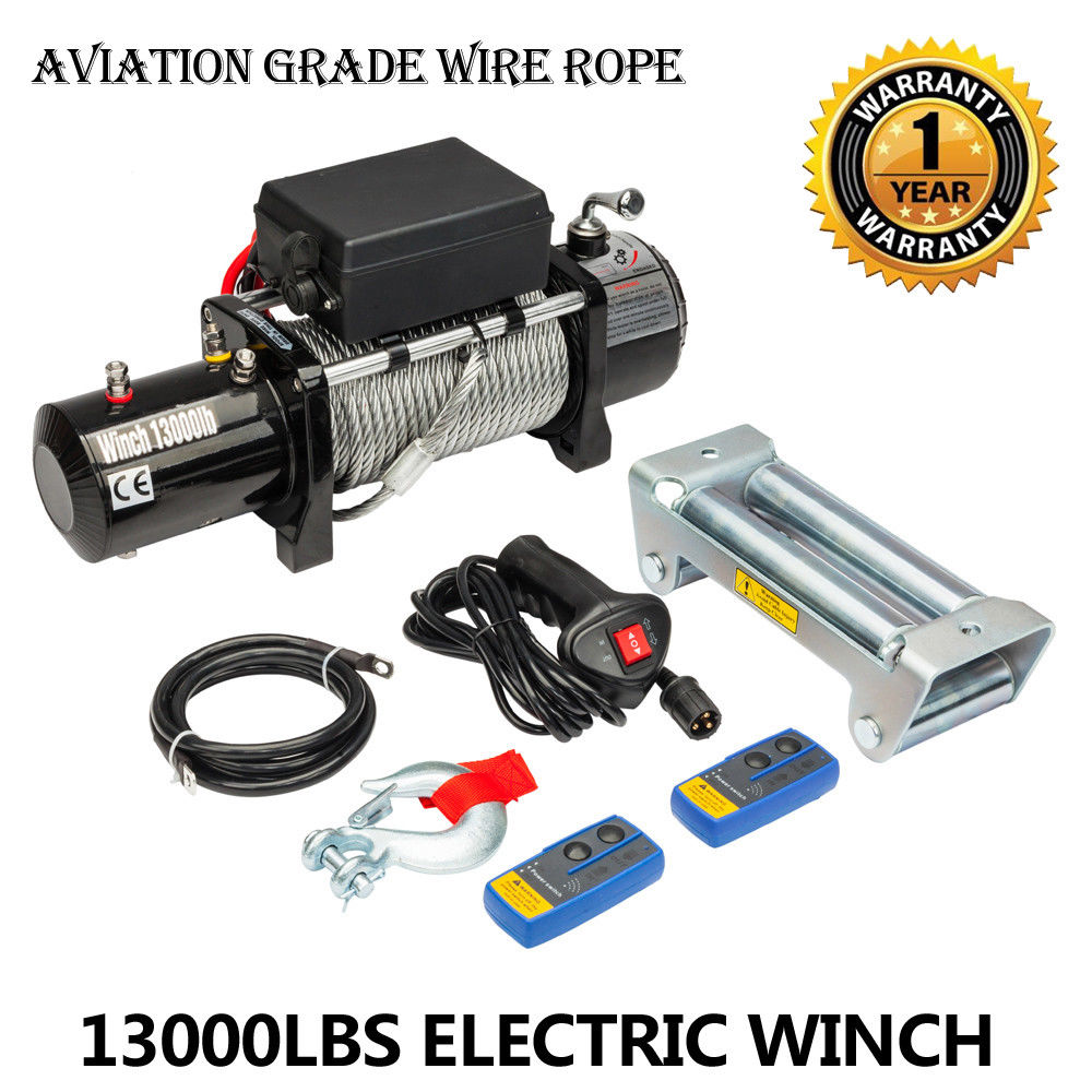 Classic 13000lbs 12v Electric Recovery Winch Truck Suv 2 Pcs 12 Volt Wiring Diagram Wireless Remote