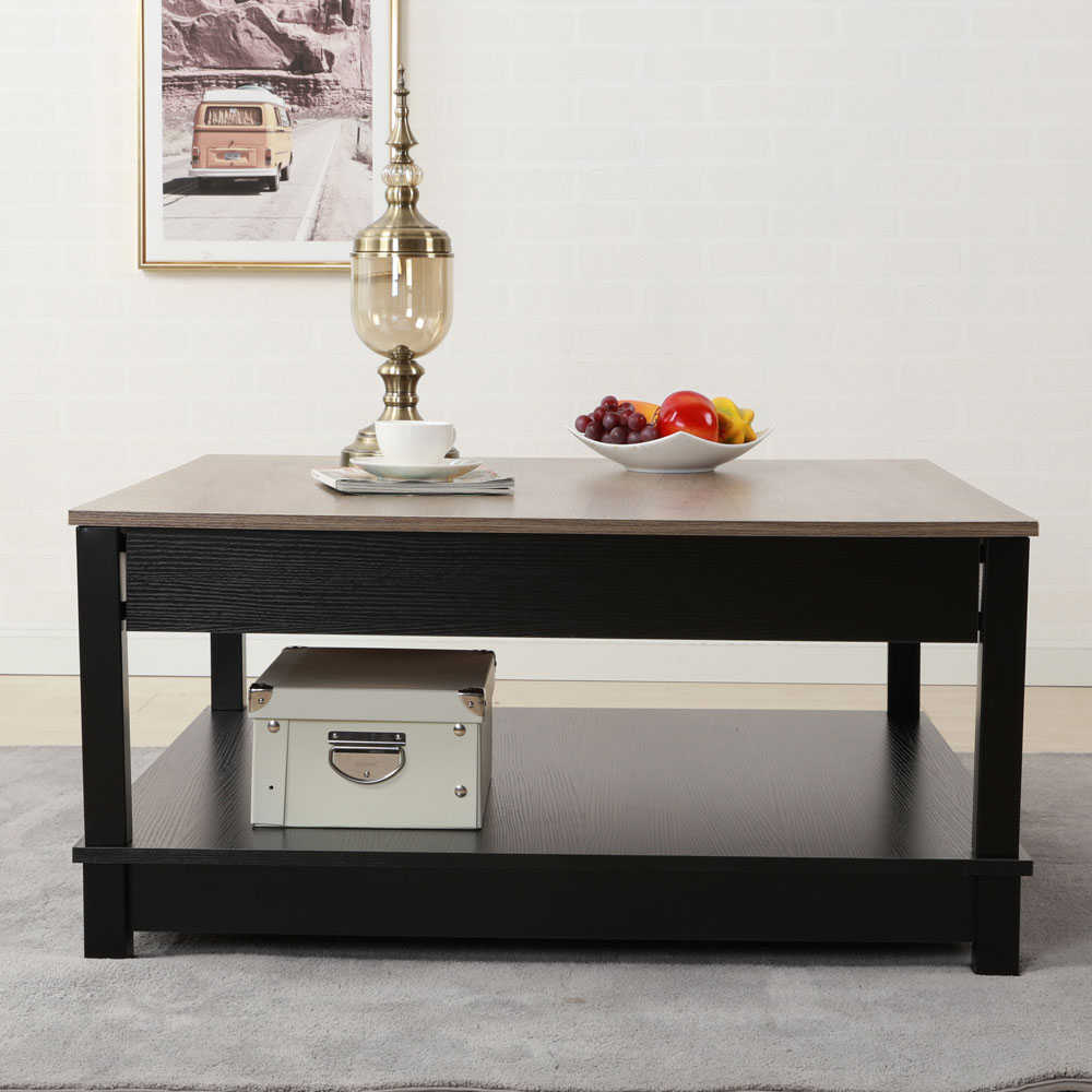 High Quality Home Furniture Carver Storage Coffee Table End Table Black  Color