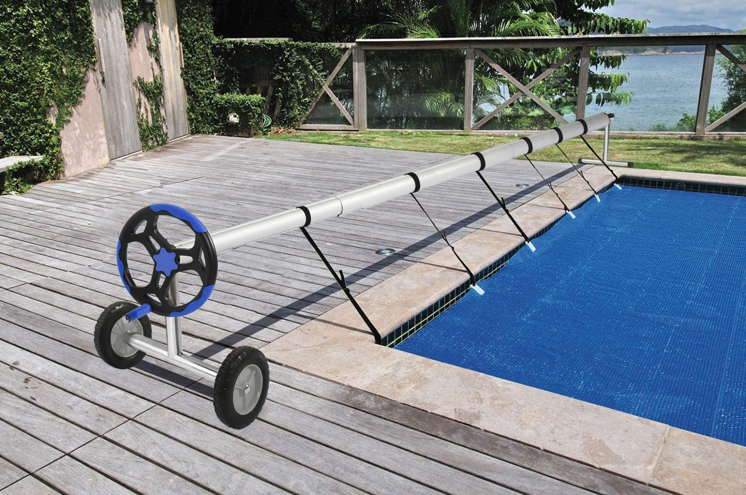 Details about Stainless Steel Solar Cover Reel For Swimming Pools Up To 18  Feet Wide Inground