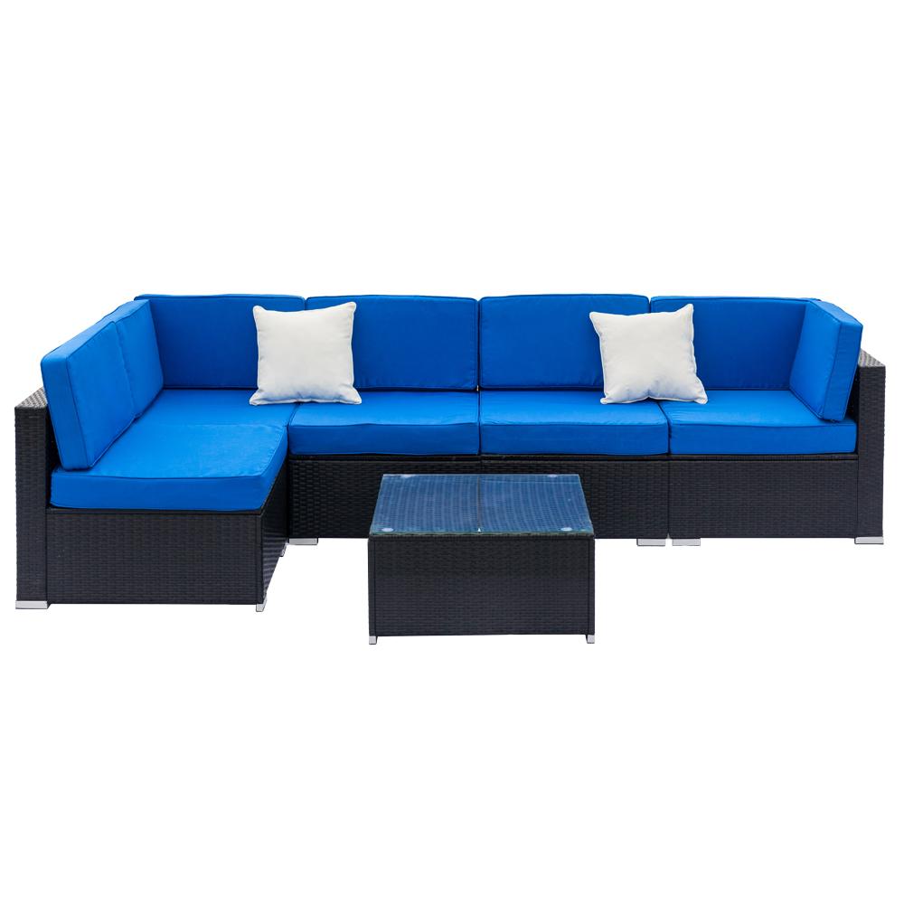 6PCS Outdoor Patio PE Rattan Wicker Sofa Set Sectional ...