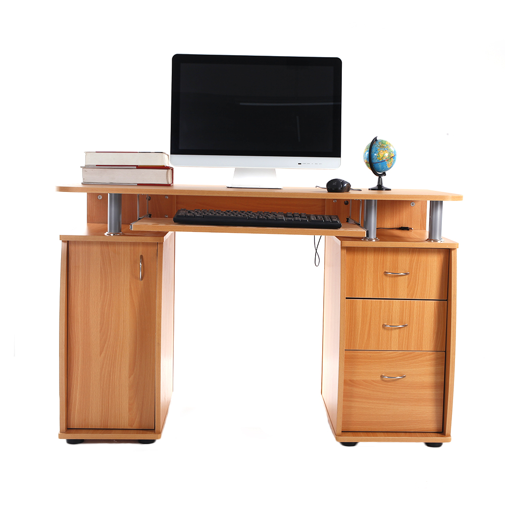 home office computer desk laptop pc study table with 3 drawers furniture wooden ebay. Black Bedroom Furniture Sets. Home Design Ideas