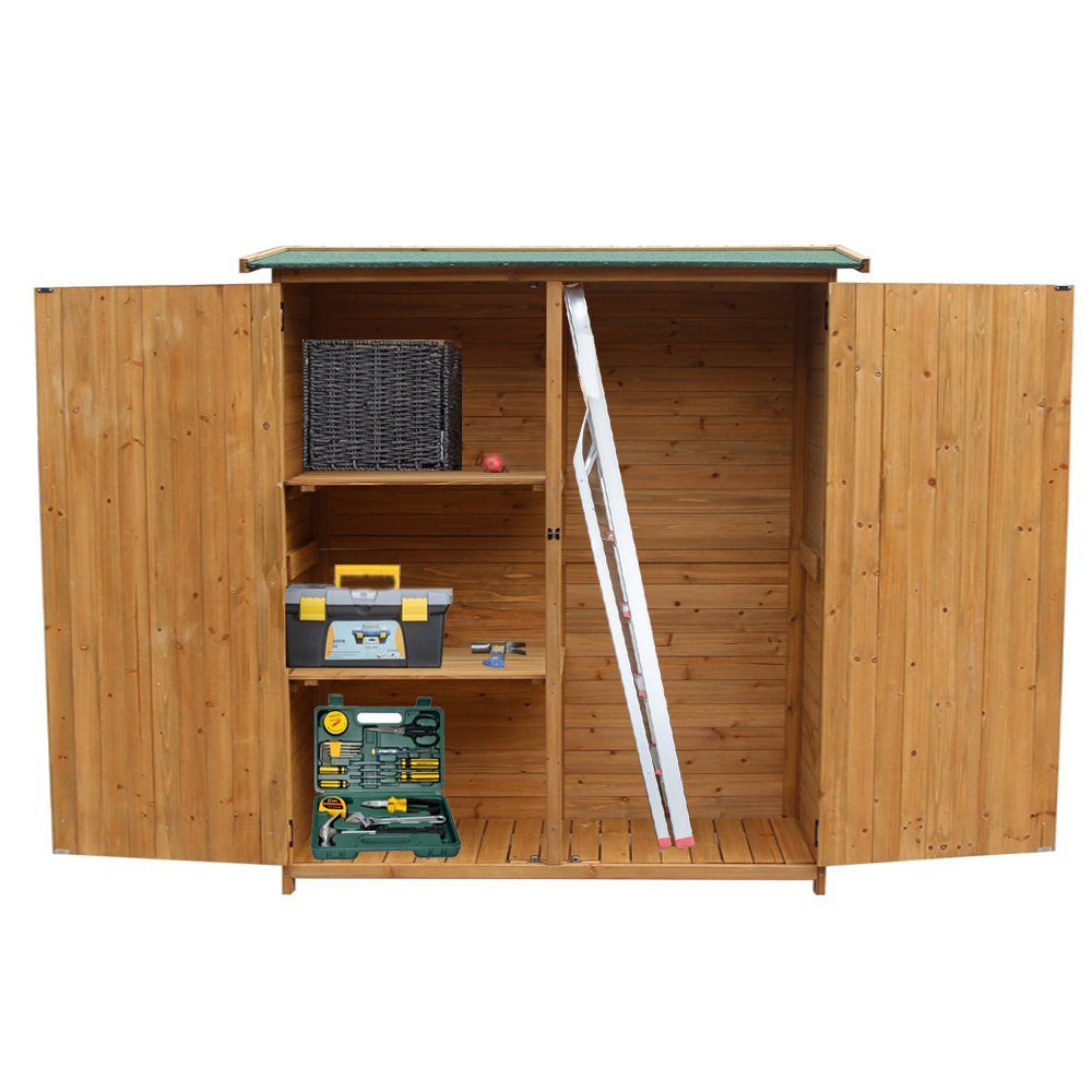64 wooden storage shed garden outdoor fir wood lockers for Wood lockers with doors