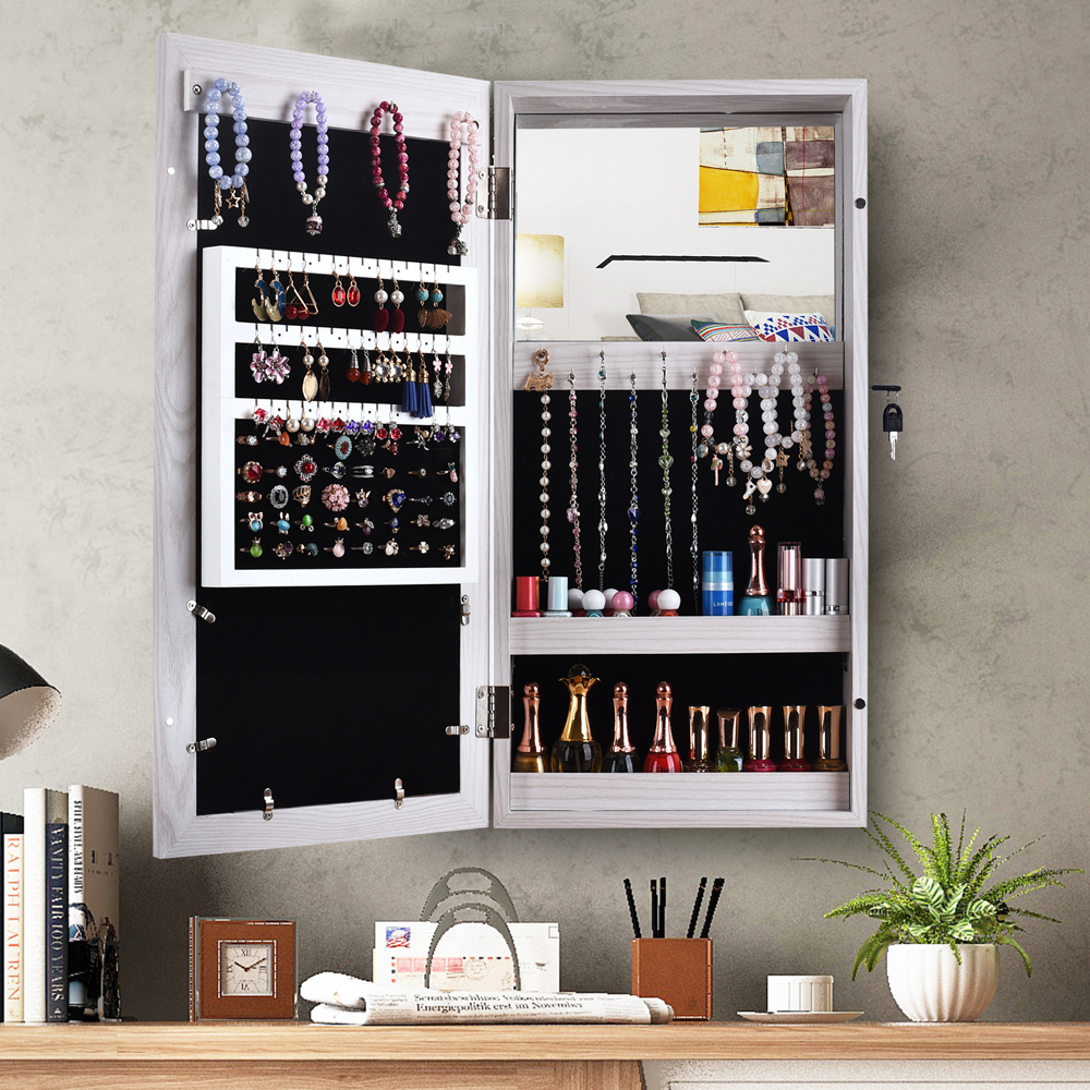 Wall Mounted Mirrored Jewelry Cabinet Armoire Makeup Storage Organizer Wood  Box