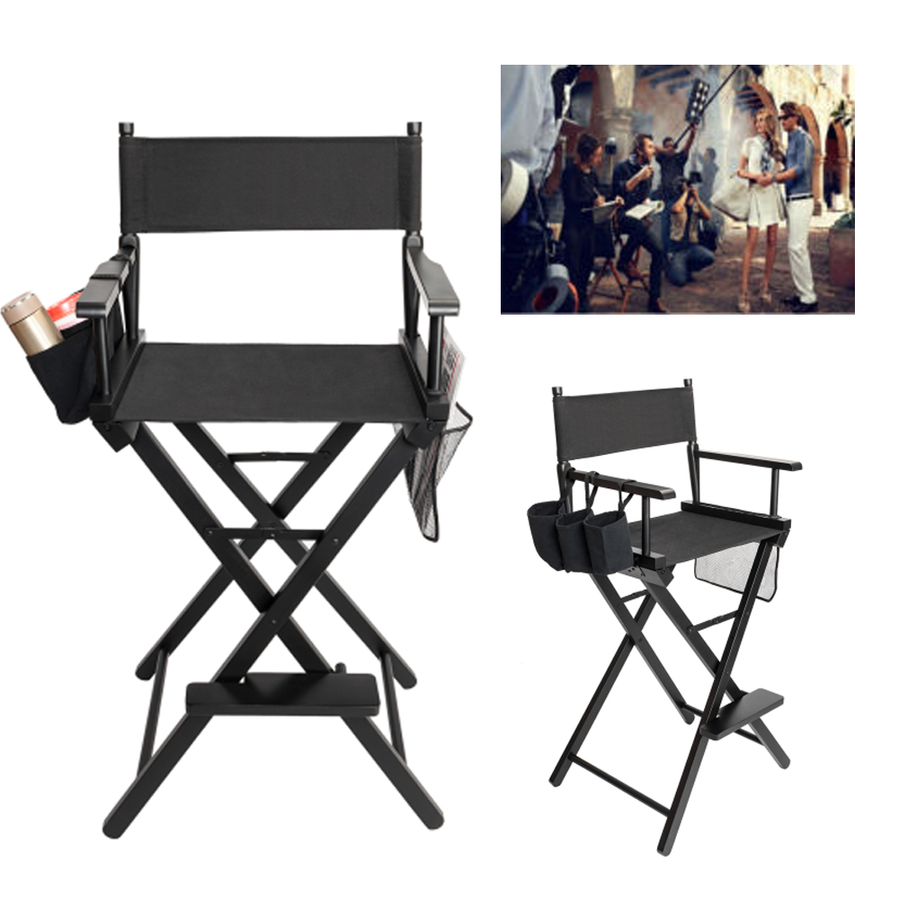 Details About Directors Chair Canvas Tall Seat Black Wood Folding Hair  Stylist W/ Storage Bag