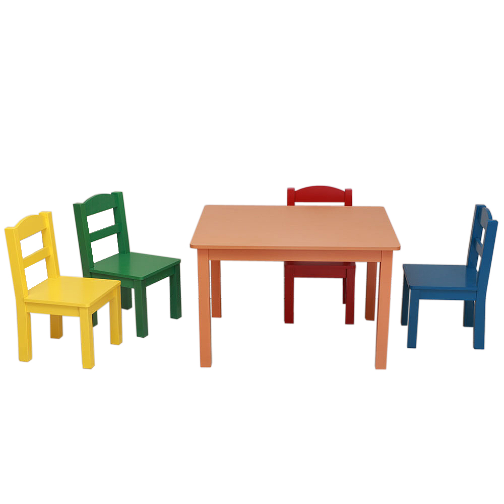 Sensational Details About Kids Table And Chair Set 5 Piece Natural Wood Activity Table And 4 Chairs Set Machost Co Dining Chair Design Ideas Machostcouk