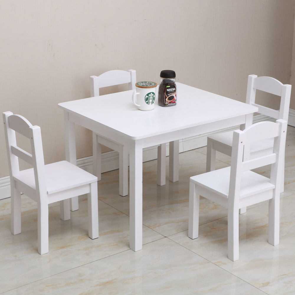 Incredible Details About Kids Table Chairs Wood Set Of 4 Learning And Playing Set White Colored Fun Games Lamtechconsult Wood Chair Design Ideas Lamtechconsultcom