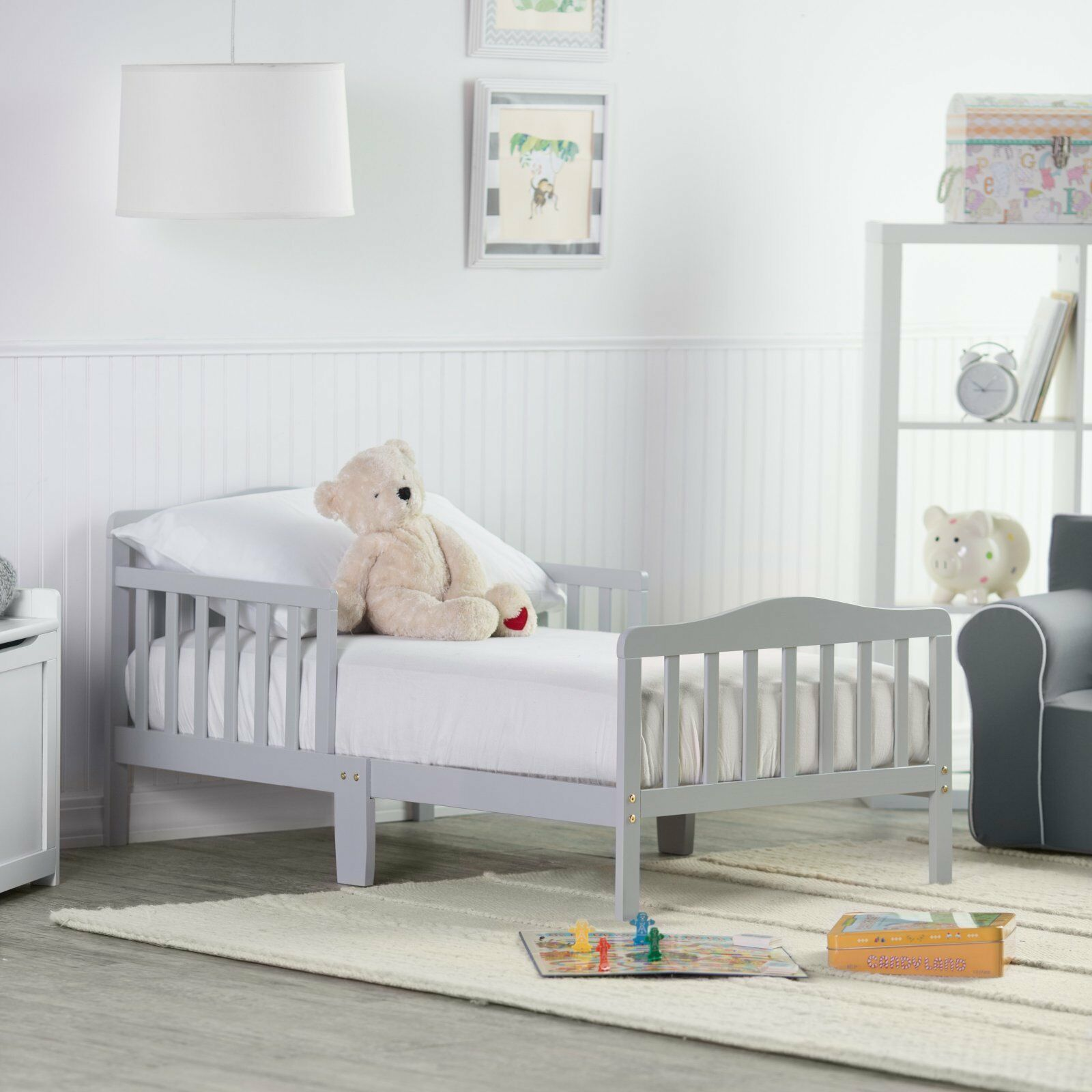 Details about Baby Toddler Bed Kids Children Wood Bedroom Furniture w/  Safety Rails Gray