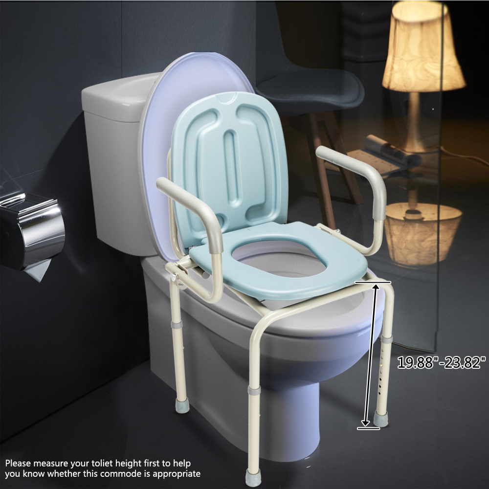 Portable Bedside Commode Toilet Seat Riser Handicap Bathroom Elderly ...