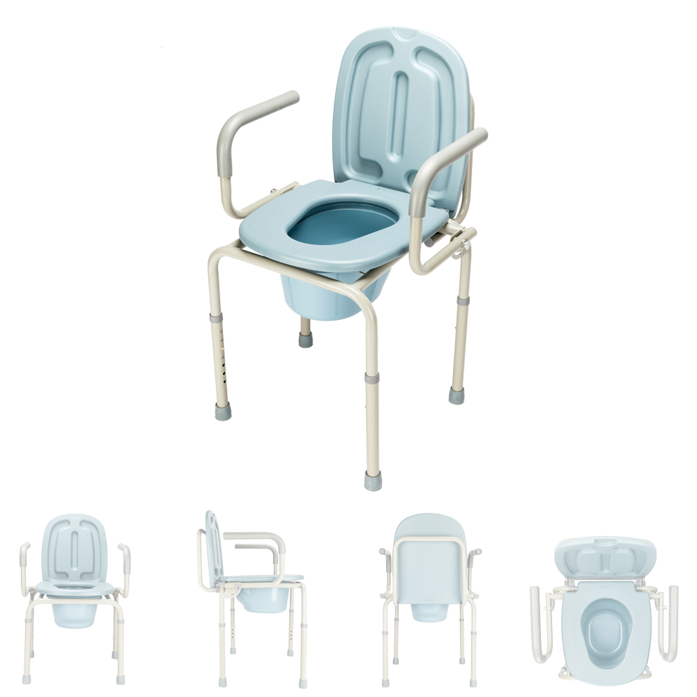 Heavy Duty Premium Medical Commode Bedside Folding Up With