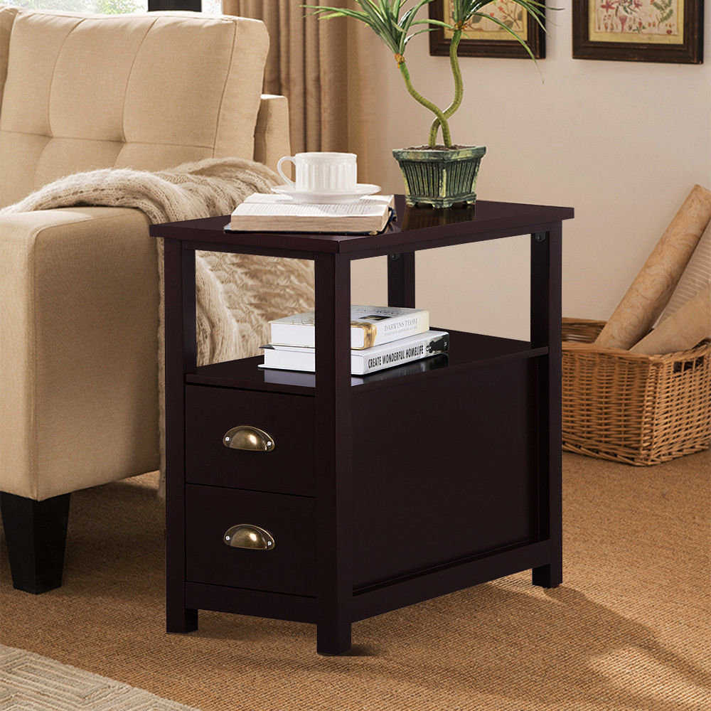 Small End Table Living Room Furniture Wooden Chair Side with ...
