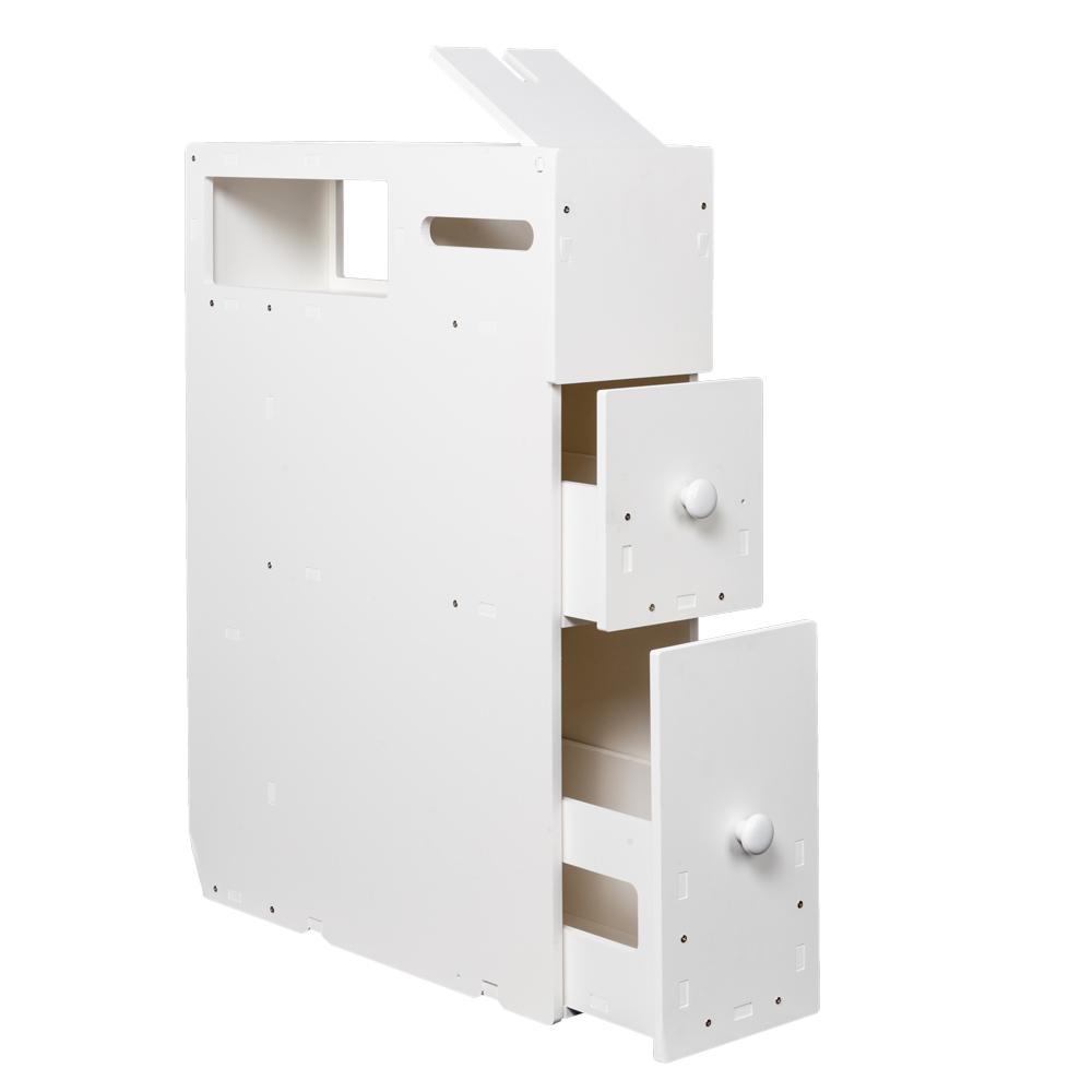 New White Floor Bath Cabinet Medicine Shelf Toilet Paper Storage ...