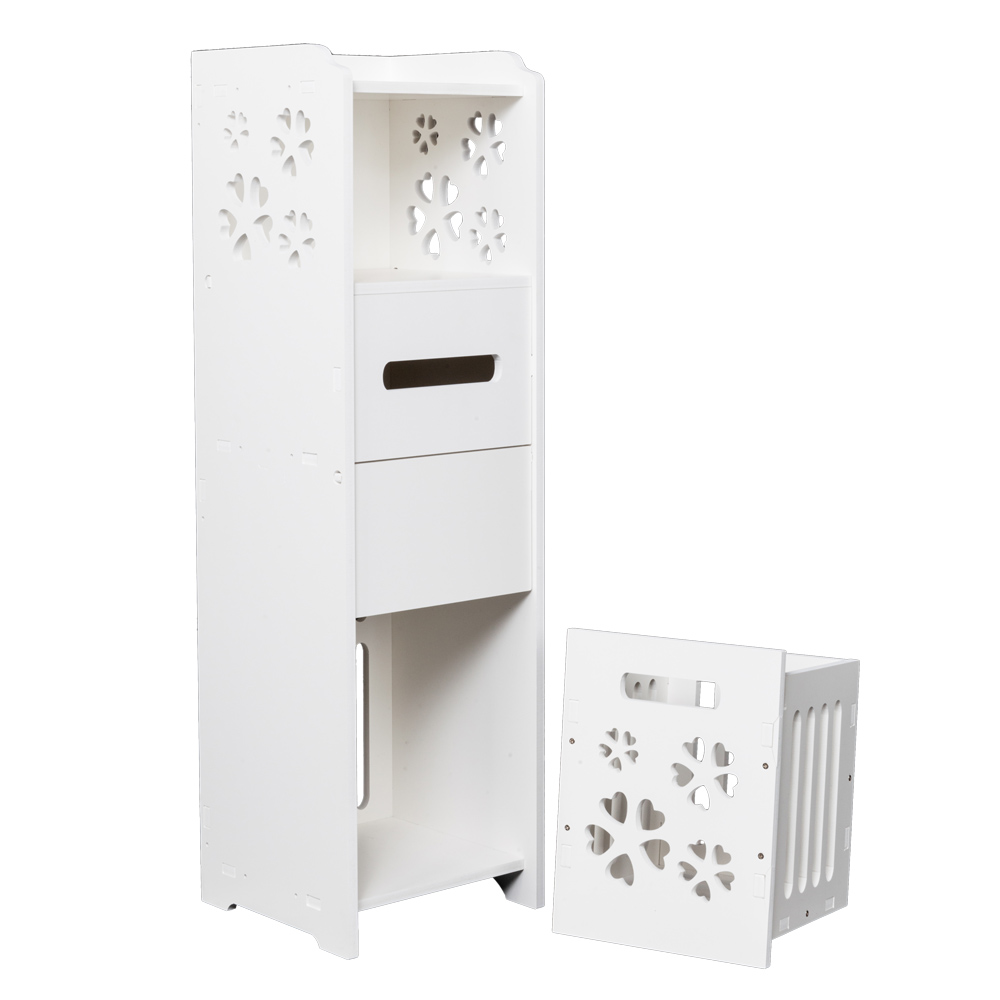 Classic 3 tier bath cabinet storage slim bathroom storage with baskets drawers