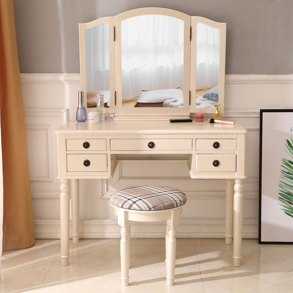 Superb Details About Vanity Makeup Dressing Table Set Folding Mirror Desk Dresser W Stool Wood White Dailytribune Chair Design For Home Dailytribuneorg