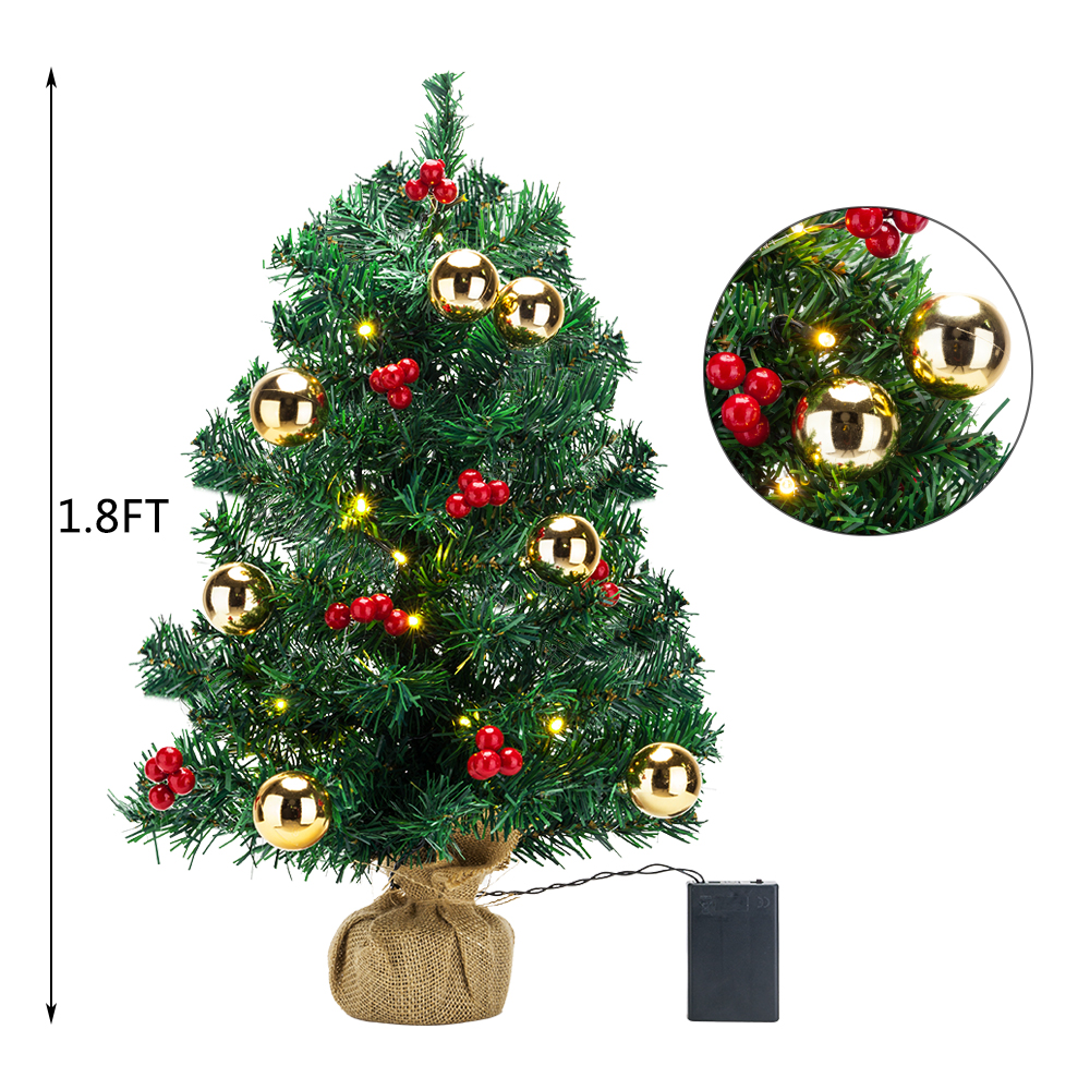 Details About Tabletop Artificial Small Mini Christmas Tree With Led Light Ornaments