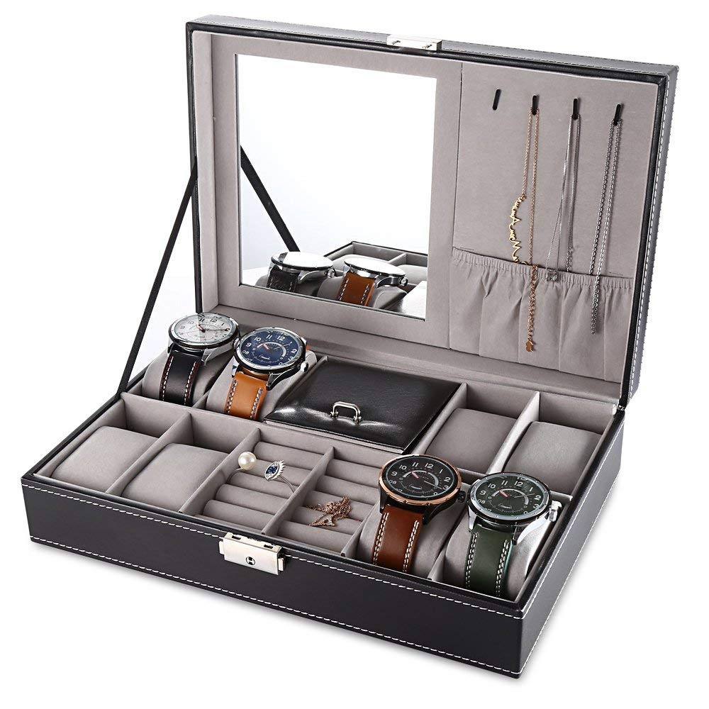 f3d1a7142 Jewelry Box with Lock Men Women Mirror Watch Rings Organizer Storage Leather