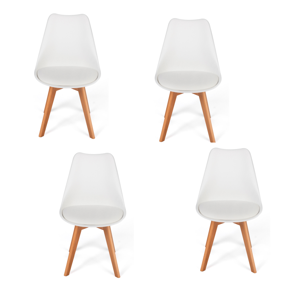 Phenomenal Details About High Quality Set Of 4 Mid Century Modern Dining Side Chair Wood Legs In White Ibusinesslaw Wood Chair Design Ideas Ibusinesslaworg
