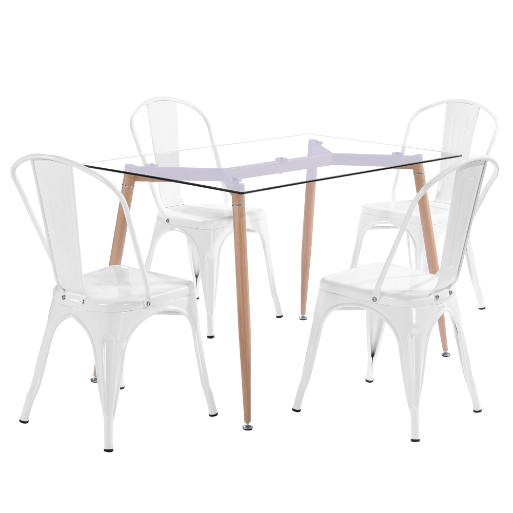 Groovy Details About 4Pcs Tolix Style Dining Side Chair Arm Chairs Stackable Bistro Metal Stool White Gmtry Best Dining Table And Chair Ideas Images Gmtryco