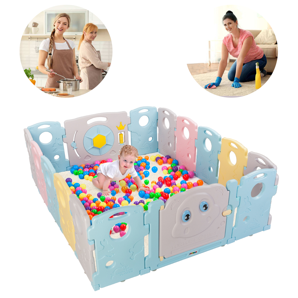 ba99ae17d8abe Baby Playpen 16 Panel Kids Safety Play Center Yard Home Indoor Outdoor Fence