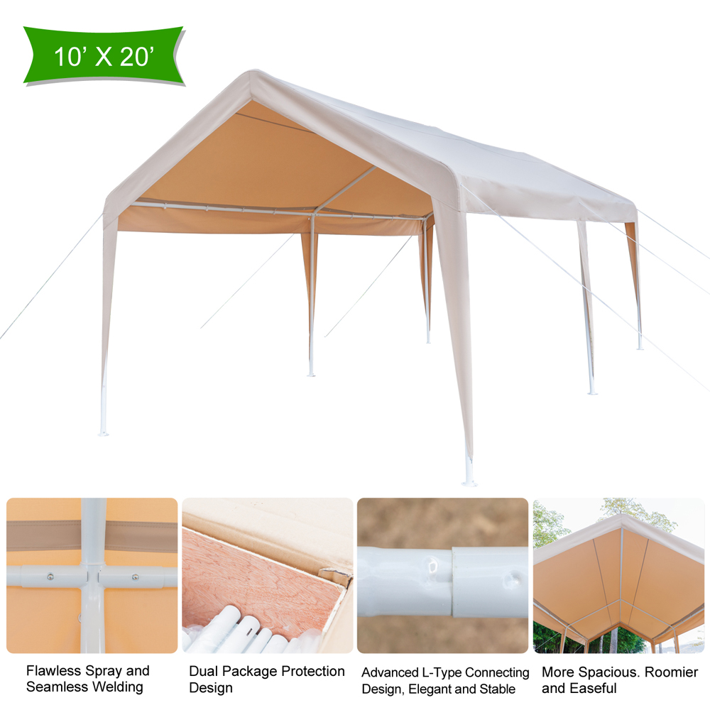 10\' x 20\' Steel Frame Canopy Shelter Portable Carport Car Garage W ...