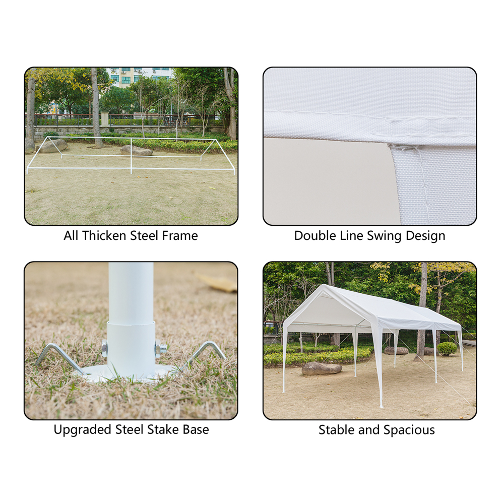 10 x 20 FT Outdoor White Canopy Car Port Shelter Cover Tent Portable ...