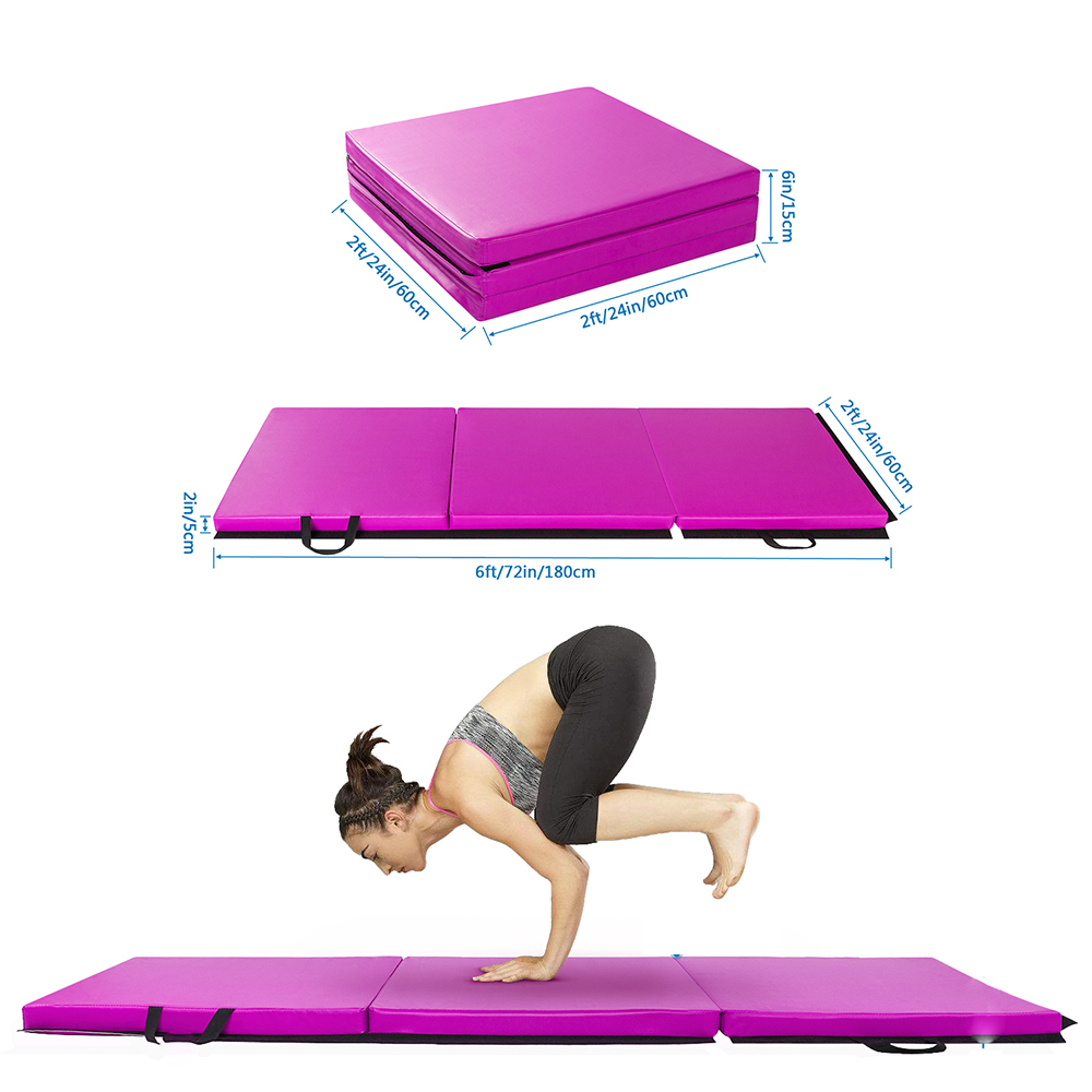 6'x2' Exercise Non-Slip Tri-Fold Thick Foam Gym Mat For
