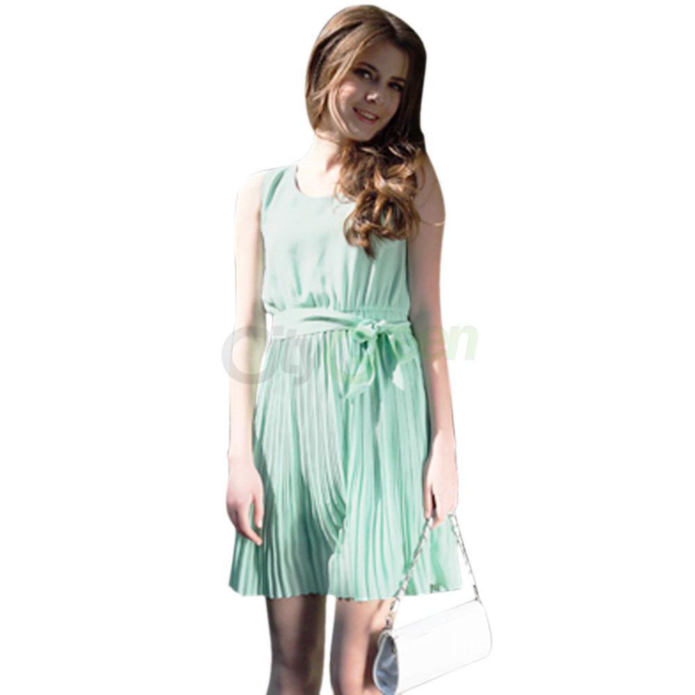 9e19352a7c8 Details about New Women's Summer Dress Pleated Chiffon Sleeveless Sundress  Mint Green