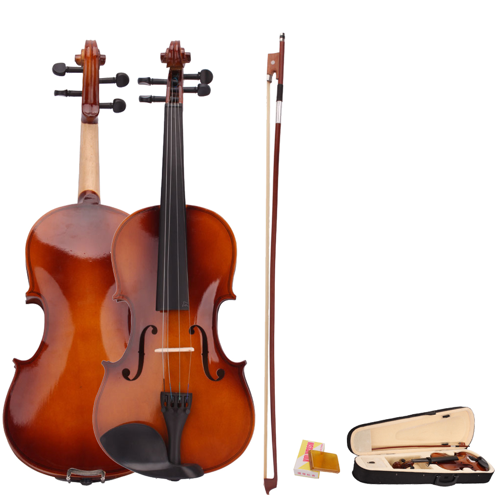 New Hot 4/4 Full Size Natural Acoustic Violin Fiddle with Case Bow ...