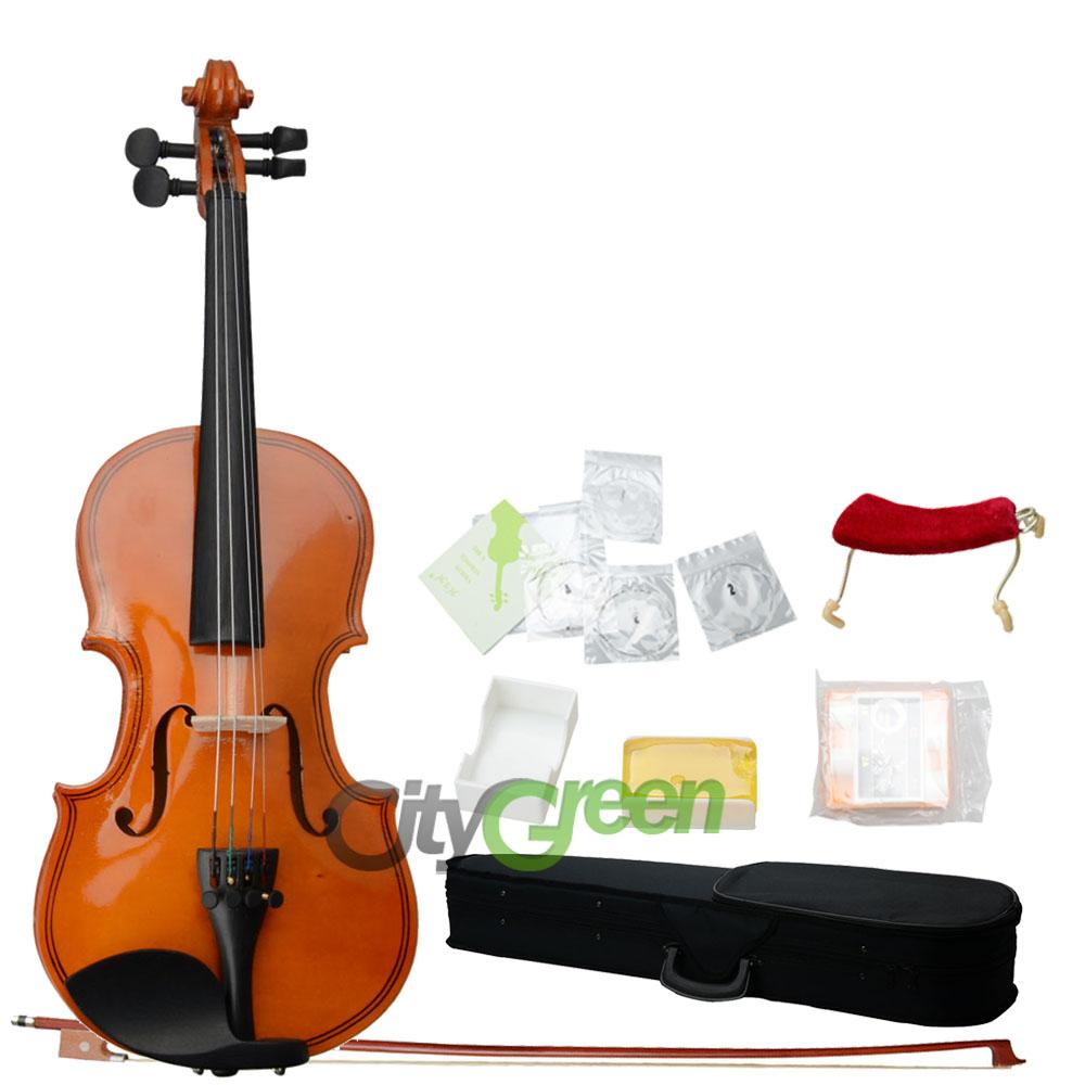 Details about 1/8 Solid Wood Natural Color Violin+Case+Bo w+Rosin ...